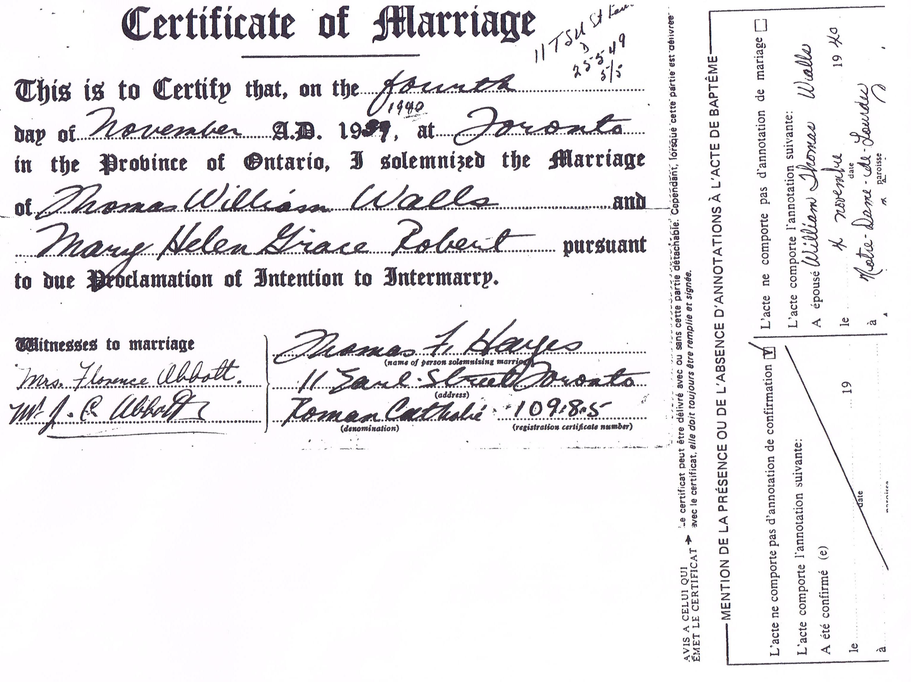 Documents Marriage Certificate 4 Nov 1939 Thomas William Walls Ii